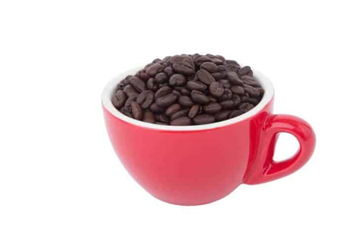 Filizanka z ziarnami kawy